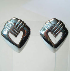 Trifari Retro Art Deco Style Post Earrings Silvertone Vintage Jewelry