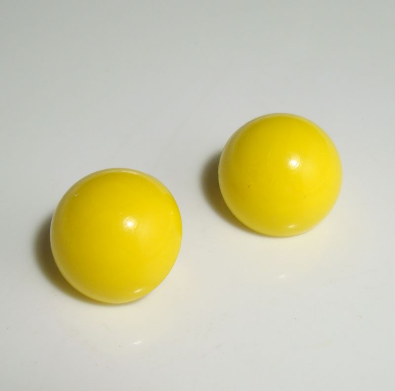 Napier Yellow Lucite Dome Clip On Earrings Vintage Jewelry