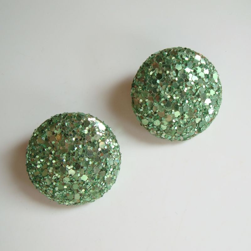 Attitude Paris Signed Green Glitter Clip On Earrings Vintage c1950s Jewelry