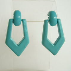 Turquoise Colored Earrings Geometric Door Knocker Post Style Jewelry
