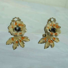Daffodil Flower Enameled Clip On Earrings Yellow Orange Vintage Floral Jewelry