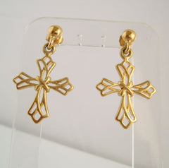 Openwork Goldtone Cross Earrings Religious Jewelry