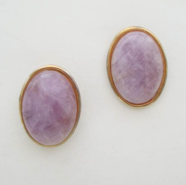 Amethyst Quartz Cabochon Earrings Vintage Gemstone Jewelry