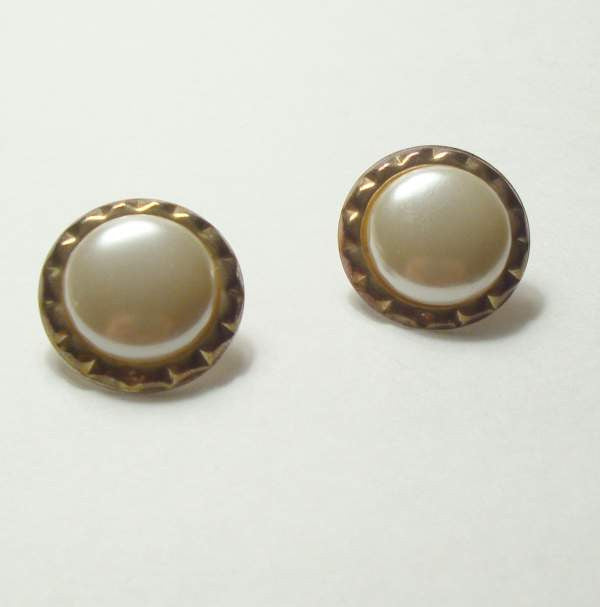 Antiqued Metal Mabe Pearls Post Earrings Vintage Wedding Jewelry