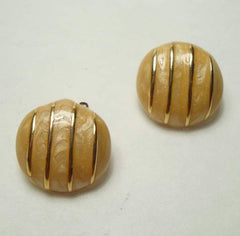 Marbled Peach Enamel Clip On Earrings Vintage Jewelry