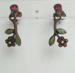 Avon Oxidized Copper Leaf Drop Earrings Rhinestones Enamel Vintage Floral Jewelry