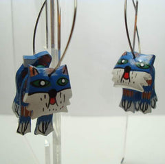 Funky 3-Piece Blue Cat Hoop Earrings Hand Painted Wood Figural Jewelry