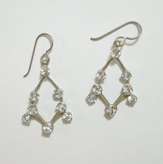Openwork Rhinestone Pierced Earrings Sterling Wires Contemporary Jewelry