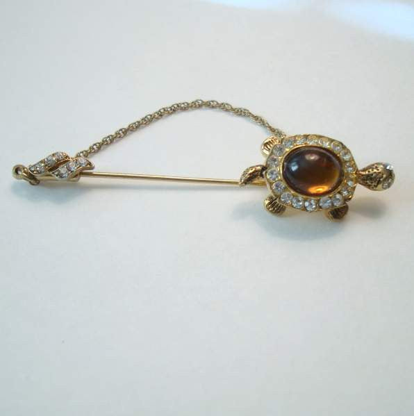 Jewelry Hat Pins: Turtle Stick Hat Pin Rhinestones Brown Cabochon Vintage