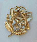 Rose Scarf Clip Stamped Goldtone Metal Floral Jewelry
