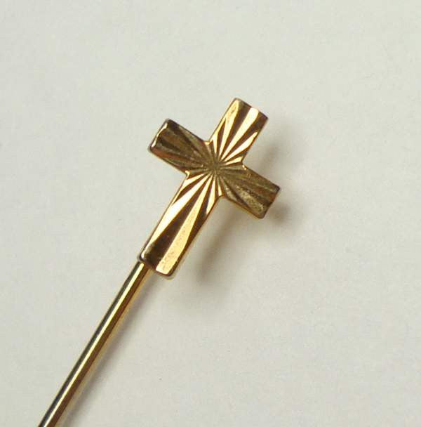 Embossed Cross Stick Hat Pin Religious Jewelry