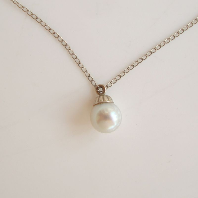 Solitaire Pearl Pendant Necklace 14K Fine Gold Chain Elegant Jewelry