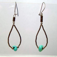 Turquoise Liquid Silver Dangle Earrings Vintage Gemstone Jewelry