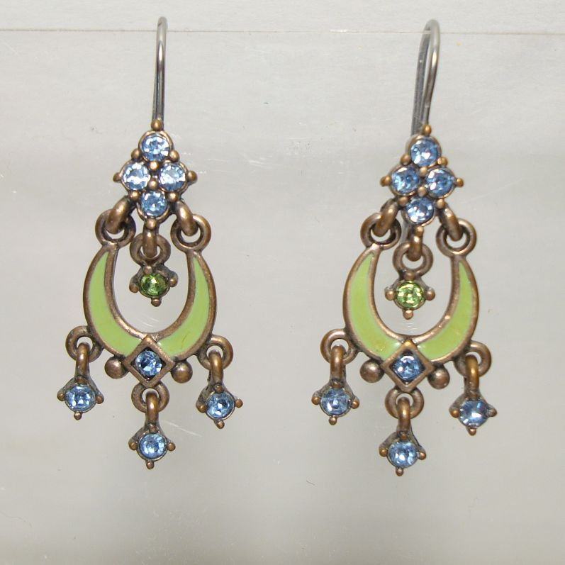 Sweet Romance maybe Rhinestone Enamel Earrings Blue Green Jewelry