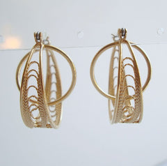 Filigree Hoop Earrings w Inner Ring Gold Plated Elegant Jewelry