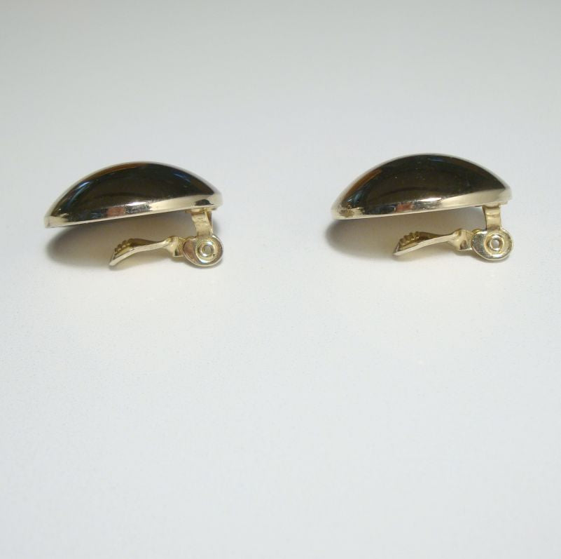 Monet Large Dome Clip Earrings Silvertone Metal Comfort Clips Vintage Jewelry