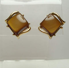 Coro Brown Moonglow Lucite Clip On Earrings 1956 Mint Vintage Jewelry