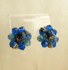West Germany Blue Cluster Clip On Earrings Vintage Jewelry