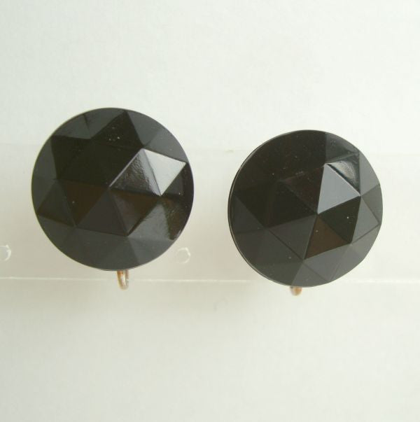 Black Faceted Rose Cut Plastic Adjustable Clip On Earrings Vintage 1960 Jewelry