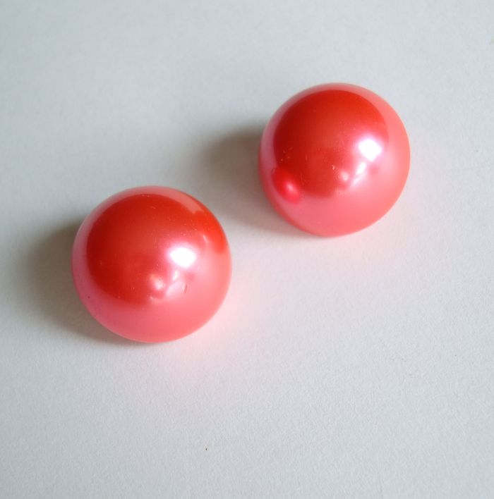 Hot Pink Dome Clip On Earrings Colorful Vintage Jewelry