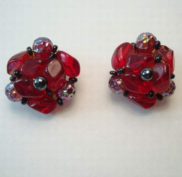 West Germany Red Molded Glass Cluster Clip On Earrings Vintage Jewelry