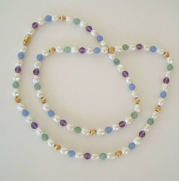 Suffrage Faux Pearl Pastel Bead Necklace White Green Purple Vintage Jewelry