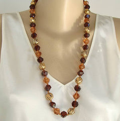 Lightweight Two-Tone Topaz Bead Necklace Retro Acrylic Beads Vintage Jewelry