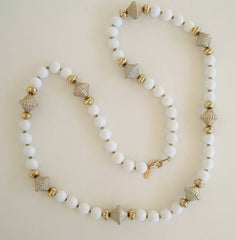 Alabaster signed White Goldtone Art Deco Bead Necklace Vintage Jewelry