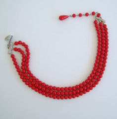Childs Three-Strand Red Bead Necklace 13.5 inches Vintage Jewelry