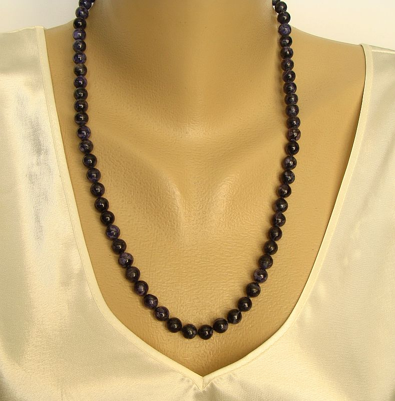 Cobalt Blue Lapis Lazuli Bead Necklace 24-inches 8 mm Gemstone Jewelry