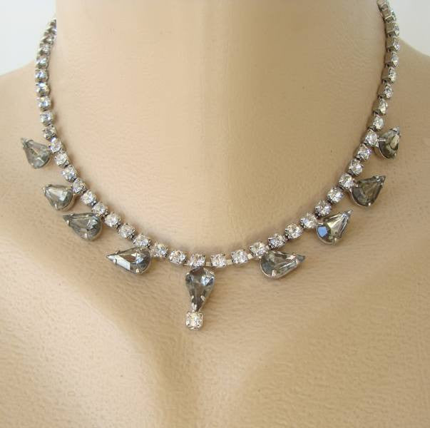 Smoky Quartz Choker Fringe Necklace Pear Shaped Rhinestones Vintage Jewelry