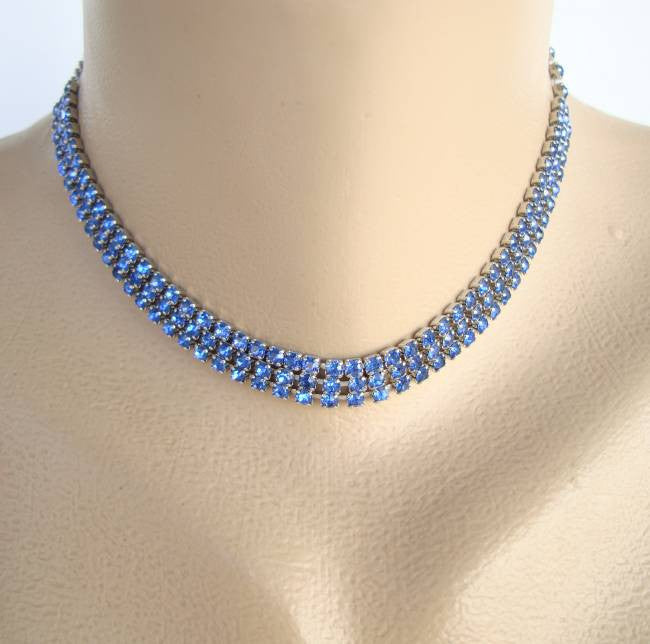 Blue Rhinestone Collar Necklace Three Rows Sparkling Jewelry