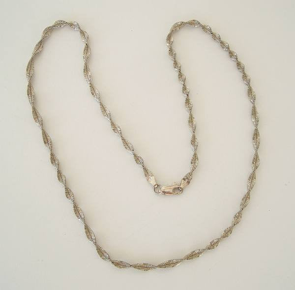 Sterling Silver Diamond Cut Twisted Herringbone Chain Necklace 20 inches Italy Jewelry