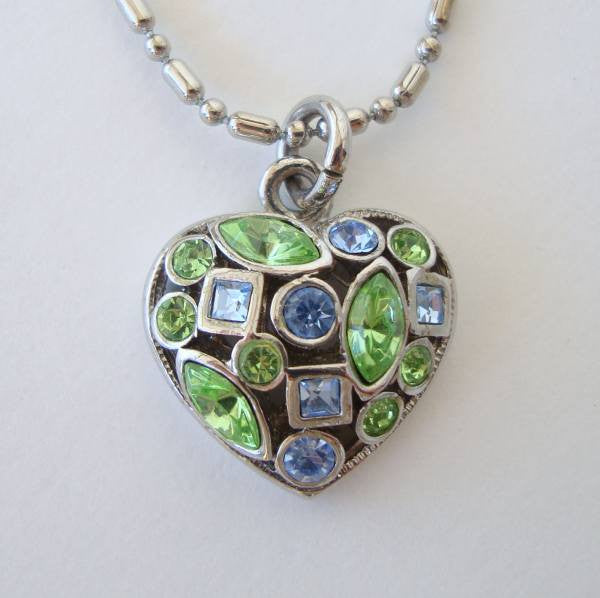 Blue Green Rhinestone Heart Pendant Necklace Sweetheart Jewelry