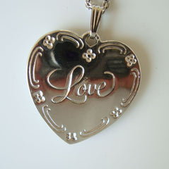 Heart Pendant Necklace Engraved 'Love' Floral Romantic Jewelry