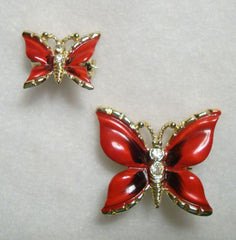 Two Red Enamel Butterfly Pins Large Small Rhinestone Accents Colorful Figural Jewelry