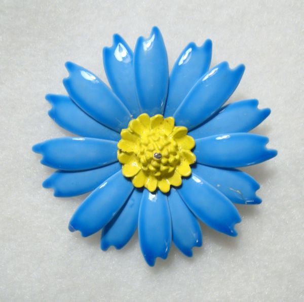 Blue Yellow Enamel Flower Pin Vintage Floral Jewelry