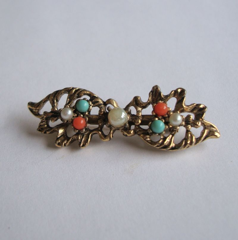 Goldette Style Bow Pin Pearls Turquoise Beads Vintage Jewelry
