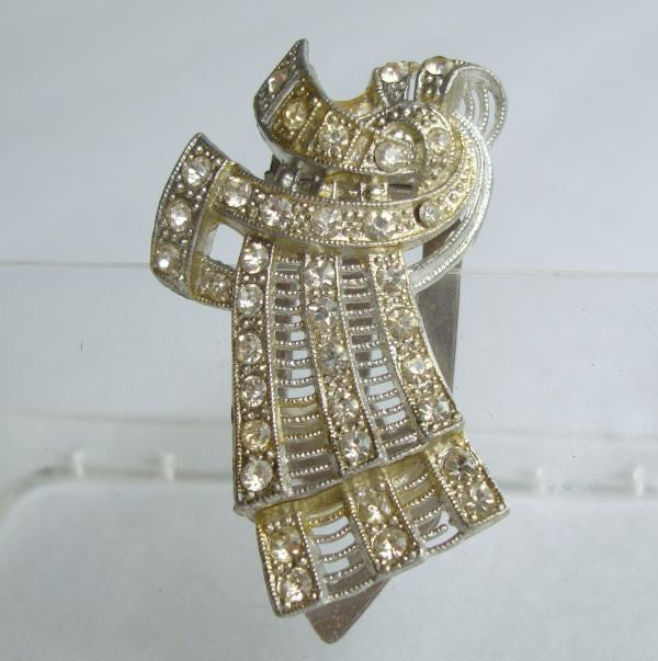 Art Deco Rhinestone Dress Fur Clip Vintage Jewelry