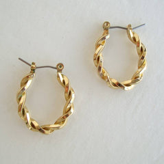 Twisted Goldtone Hoop Earrings Shrimp Wires