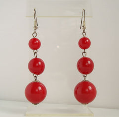Red Triple Graduated Bead Dangle Earrings Festive Jewelry