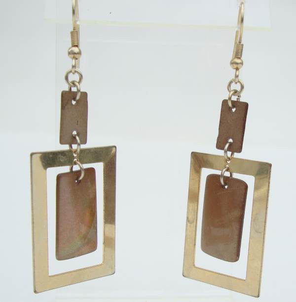 Goldtone Shell Rectangular Hoop Dangle Earrings Vintage Jewelry