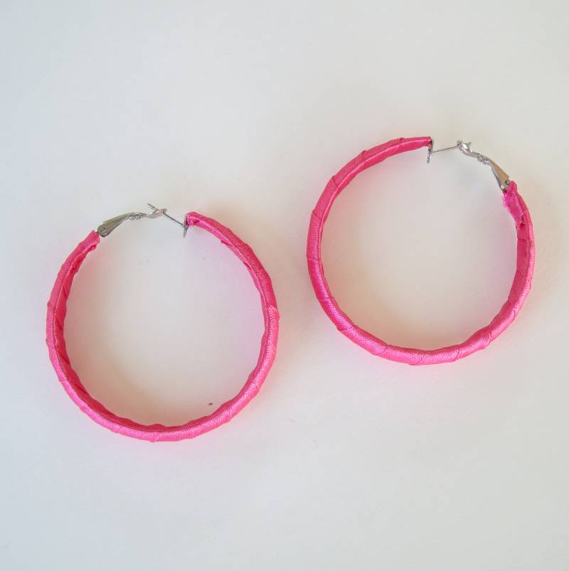 Large Pink Ribbon Wrapped Hoop Earrings Eye-Catching Jewelry