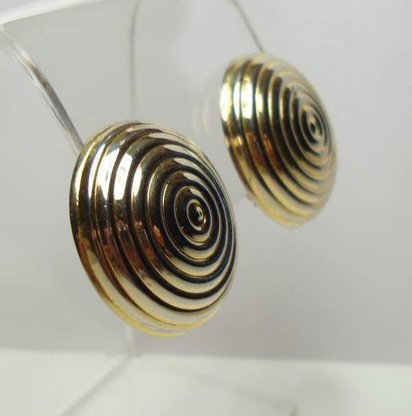 Goldtone Swirled Clip On Earrings Dome Button Vintage Jewelry