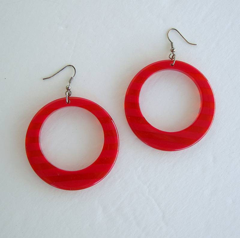 Large Red Striped Hoop Earrings Colorful Vintage Jewelry