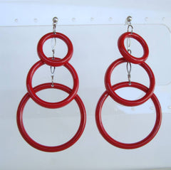 Lightweight Red Triple Hoop Dangle Earrings Post Style