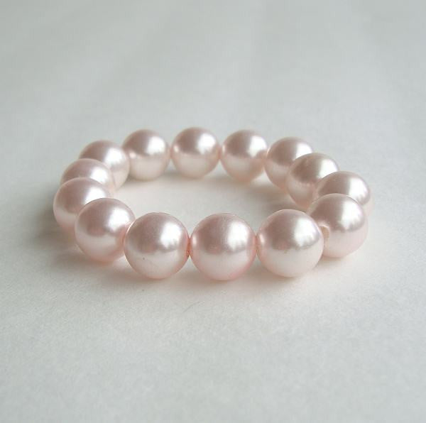 Pink Large Faux Pearl Expansion Bracelet