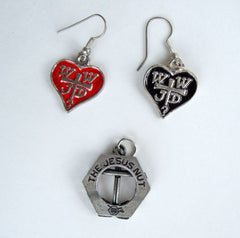 Roma WWJD Heart Earrings Red Black plus Jesus Nut Necklace Pendant Religious Jewelry