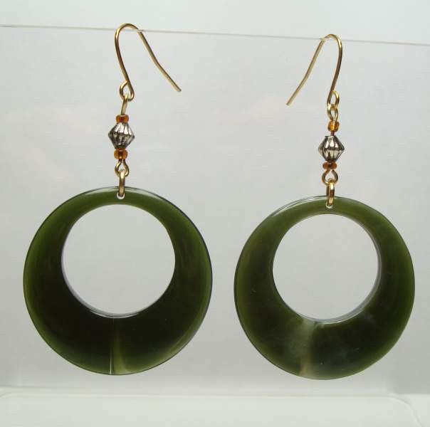 Lightweight Green Marbled Hoop Earrings Vintage Jewelry