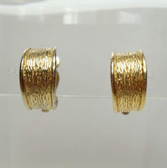Small Goldtone Huggie Hoop Earrings Clip Ons Vintage Jewelry